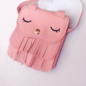 Other - Pink Cat Vegan Leather Fringe Cross Body Bag Purse
